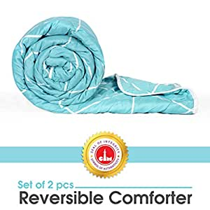 Divine Casa Microfibre Comforter/Blanket/Quilt/Duvet Lightweight, All Weather Single Comforter, Abstract-Sky Blue