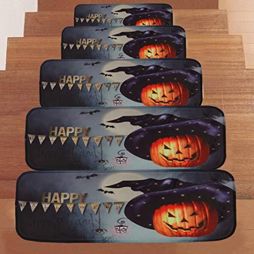 VEMOW Halloween Party Horror Dekoration 1 Satz StepBasic Rutschfeste Korallen Fleece Beständig Teppich Stair Mat 22cmx70cm(Schwarz, 22cmx70cm)