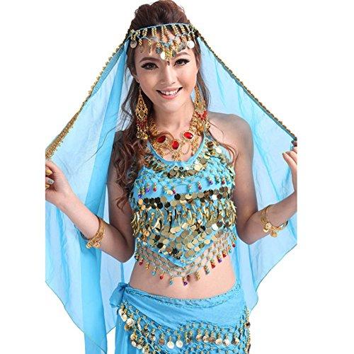 Ägyptischen Kostüme Bauchtanz Stil (Bauchtanz Kostüm Gesichtsschleier Metall Coin Headwear Chiffon Wrap)