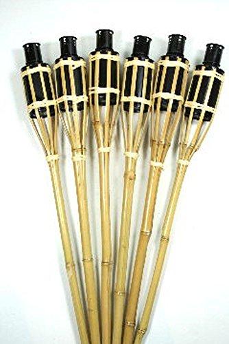 Hillfield® 12 x Gartenfackel mahagoni Bambus Bambusfackel Garten Fackel mit Sturmverschluss Dochtschutz Gartenfackeln 90cm (12 Stück, Natur)