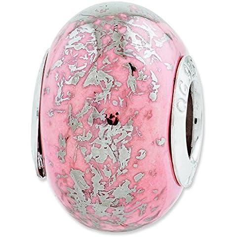 Sterling Argento riflessi rosa con ciondolo in ceramica platinum Foil - Foil Ciondoli