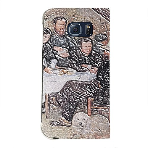 Renoir - The Cabaret Of Mm Antony, Texture Portafoglio Mesh Flip Custodia Protectiva in Pelle Wallet Case Cover Shell Nero con Design Strutturato per Samsung Galaxy S6 Edge G9200.