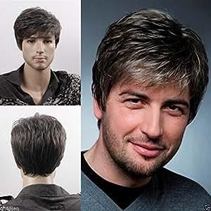 Men Short Straight Wig Black and Grey Mix Side Swept