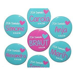 JGA-Button Set, groß, 50mm, Hochzeit-Junggesellenabschied, personalisiert, Menge und Text individuell auswählbar, Ansteckbutton, Motiv: Herz türkis pink