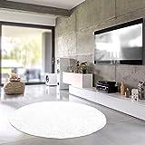 Shaggy-Teppich | Flauschiger Hochflor fürs Wohnzimmer, Schlafzimmer oder Kinderzimmer | einfarbig, schadstoffgeprüft, allergikergeeignet in Farbe: Weiss; Größe: 250 cm rund