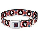 Buckle Down Cab Captain America Shield Navy Hundehalsband