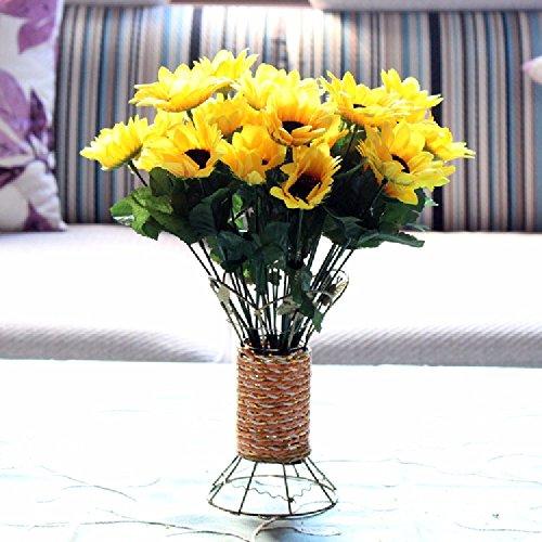 SCFLOWER Künstliche Blume Kreative Bügeleisen Blumenkörbe Nelke Daisy Home Dekor,Sonnenblume Gelb Vintage-sonnenblume-dekor