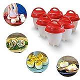 6 PCS Egglettes, LEDGOO Antihaft-Silikon Egg Cooker, Eierkocher Hard & Soft Maker, Hartgekochte Eier ohne Schale (Mehrfarbig optional) (Rot)