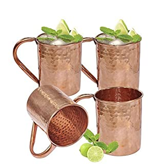 AVS STORE Moscow Mule Copper Mugs, Best for Mules, Beer and Other Ice Cold Drinks, 100% Pure Copper Mug, 16 Oz Hammered