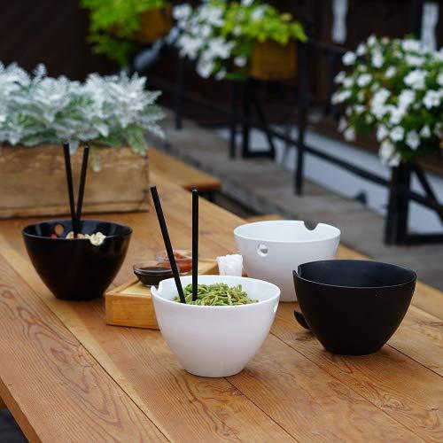 Kenley Juego de cuencos grandes para platos orientales-Arroz Ramen Sopa Fideos Udon Miso Pho Thai japonés Curry tailandés-2cuencos de porcelana, palillos de bambú & Cucharas de cerámica