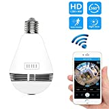 Security Camera Bulb 360 Degree Wifi VR Panoramic Security Cam Lamp Surveillance IP Camera CCTV Wireless Pawaca Fisheye Camera Light 1.3MP HD Indoor Outdoor Home Real-time Monitor System Two-way Intercom for Home security with IR Night Vision