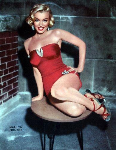 Movie Stars Marilyn Monroe IN ROTEM Kleid Kunstdruck