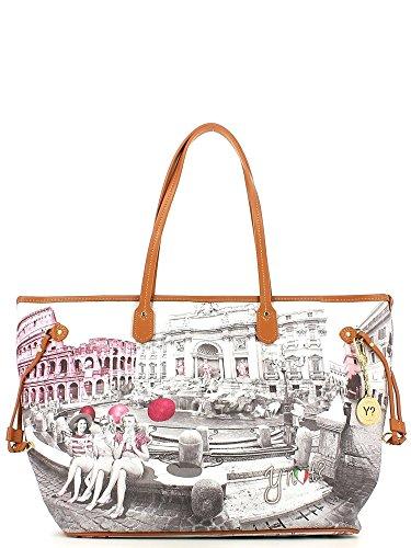 Borsa donna Shopping taglia maxi Y Not stampa Roma Pink Girls - F356