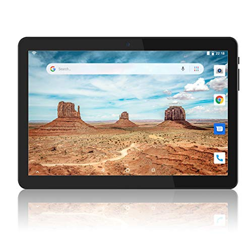 Tablet 10 Zoll Android 9.0 Pie mit Zwei Simkarten Slot, 1280 x 800 HD IPS, 2GB RAM, 32GB Speicher, Quad-Core, 6000Amh, Dual Kamera, GMS zertifiziertes, 2.4G WiFi/ BT 4.0