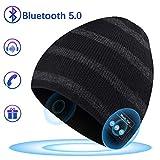 Bonnet Bluetooth pour les Cadeaux pour Hommes, Chapeau Musical avec Chapeau Sans Fil Bluetooth 5.0 Hiver Haut-parleurs Stéréo Intégrés et MIC avec USB Rechargeable pour Sports de Plein air en Hiver
