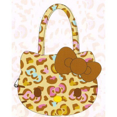 Face bag brown fluffy Hello Kitty colorful leopard print (japan import)