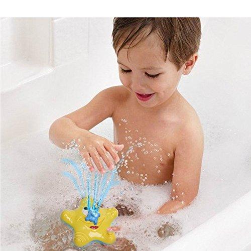 Inchant Elektro-Spray-Wasser-Baby-Bad-Spielzeug Seestern Sprühen Brunnen elektronischer rotierendes Wasser Stern-Art Bathtime Spielzeug (gelb)