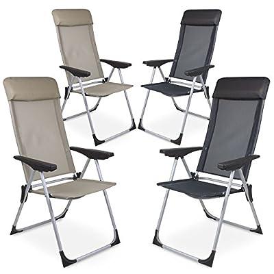 2er Set Gartenstuhl Klappstuhl Campingstuh Hochlehner aus Aluminium in Sand oder Anthrazit