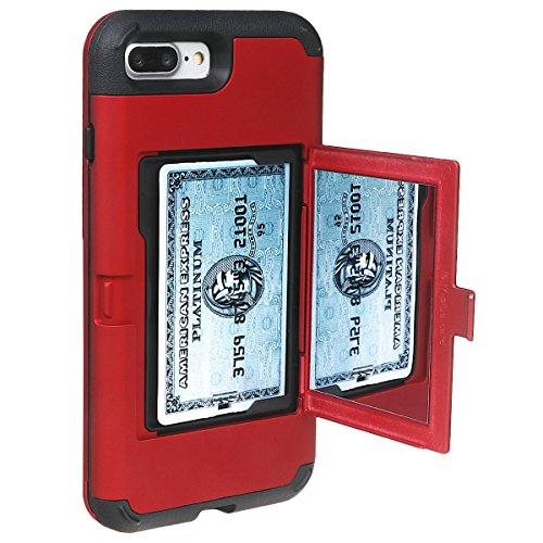 """xhorizon Schmale Passform Panzer schützende Stoßdämpfende Handyhülle, Doppelschicht, Versteckter Kreditkartenhalter, Brieftasche Handy Schutzhülle mit Spiegel für iPhone 7 Plus / iPhone 8 Plus [5.5""""] Rot"""