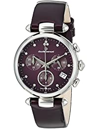 Claude Bernard Women's 'Diamond Collection' Swiss Quartz Stainless Steel and Leather Dress Watch, Color:Purple (Model: 10215 3 VIODN)