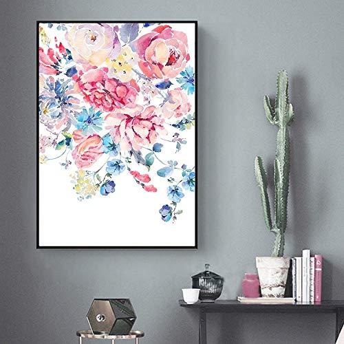 Tzxdbh acquerelli moderni rose floreale dipinti su tela poster e stampe floreali immagini per pareti per soggiorno camera da letto decorazioni per la casa pittura e calligrafia da gr