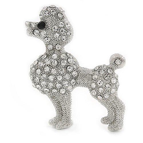 Unbekannt Silber Ton Klar Kristall Brosche Hund Pudel-40mm breit