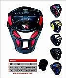3 x Sport Grill Kopfschutz Bar Maya Hide Synthetik Rex Leder Boxen MMA Displayschutzfolie Kopfbedeckung UFC Kopfschutz Sparring Helm (rot, Small/Medium)