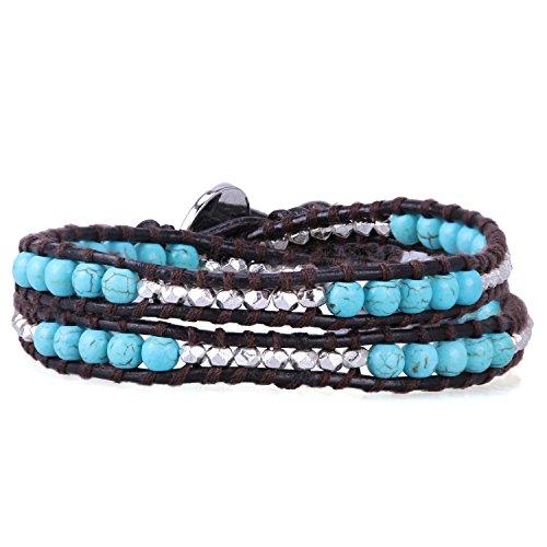 KELITCH Wickelarmband Leder Armband Damen Herren 2 Kreis Surfer Stamm Halbedelsteine Handgefertigt Armbänder (Türkis Silber Perlen)