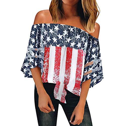 JURTEE Sommer Damen Streifen Bluse,Große Größen Mode Lose Stern Streifen Usa Flagge Amerika T-Shirt Oberteile Top (Z- Rot, XX-Large) (Kleid Flagge Usa)