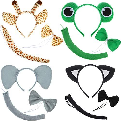Kostüm Lustige Katze Elefanten Frösche Giraffen Kostüm Ohren Stirnband mit Fliege Schwanz Krawatte für Cartoon Kostüm Party Gefälligkeiten ()