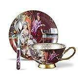 Panbado 200 ml Kaffeetasse mit Untertasse und Löffel, Fine Bone China Porzellan Kaffee Set