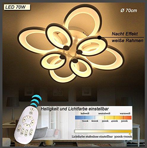LED Deckenleuchte 6022 mit Fernbedienung Lichtfarbe/Helligkeit einstellbar Acryl-Schirm weiß lackierte Metallrahmen (6022-8S 70 * 70 * 25cm LED 70W)