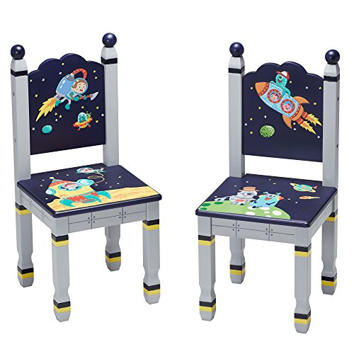 Fantasy Fields by Teamson Outer Space Childrens Wooden Kids Playtime 2 Chair Set TD-12211A2
