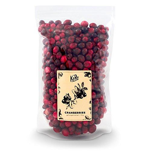 KoRo - Gefriergetrocknete Cranberries 175 g - Trockenfrüchte ganze Frucht, Pflanzliche Naturkost schonend getrocknet aus Kanada