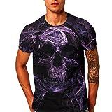 Herren T-Shirt, Beikoard Herren Schädel 3D Printing Tees Shirt Kurzarm T-Shirt Bluse Tops Fußballweltmeisterschaft 2018 Feiertage Oberteile Pullover Fest Schlanke Bluse (Schwarz-B, M)