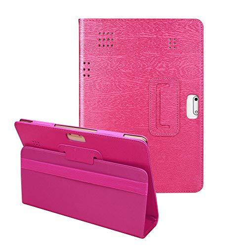 YA-Uzeun Universal-Schutzhülle aus Leder mit Standfunktion für 25,4 cm / 10,1 Zoll Tablets, universal, ausklappbarer Ständer, veganes Leder, Android Tablet PC Hot Pink 103