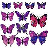 TUPARKA 36 Stück 3D Schmetterlinge Deko Schmetterling Wanddeko Butterfly Wandsticker 3D Wandtatoo Schmetterlinge Balkon Deko (Pink-Lila) - 5