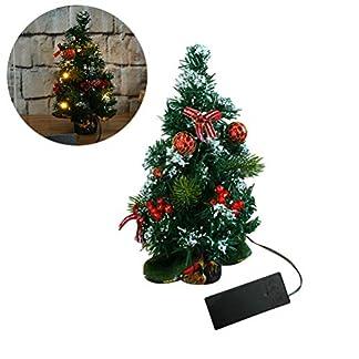 Koyowa Árbol de Navidad Decorado Pequeño Abeto con iluminación LED y Decoraciones para árboles Bolas de Navidad Decoración de Escritorio de Navidad Artificial, 30 cm