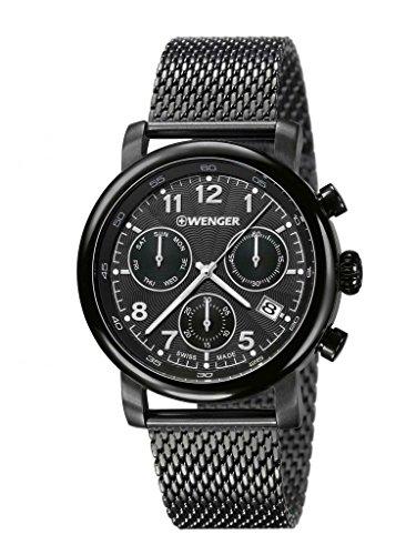 'Wenger 01.1043.108de hombre Urban Classic Chrono inoxidable de malla pulsera negro Band Negro Dial reloj