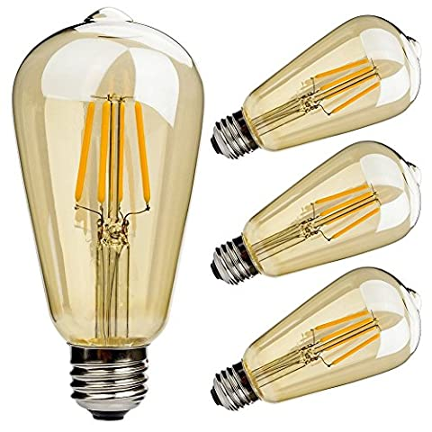 ONEPRE 3 Pack Vintage E27 Screw Edison Led Light bulb ST64 4W Filament LED Bulbs Energy Saving Bulb Warm White 2700K