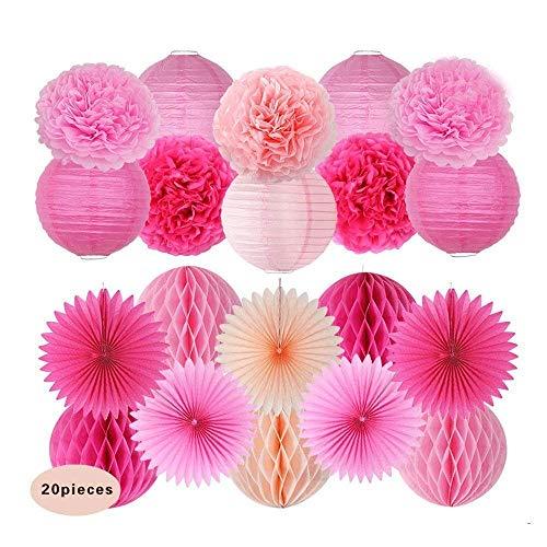 20 Stücke Rose Pfirsich Rosa Papierlaterne Honeycomb Ball pom pom für Baby Shower Geburtstag Dekoration, Braut Hochzeit Party Supplie (Kontakt Papier Teal)