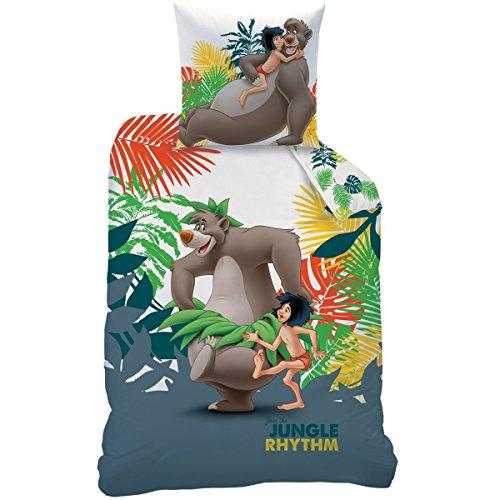 Das DschungelbuchBettwäsche:Bettbezug (140x 200cm) + Kissenbezug (63x 63cm)–100% Baumwolle, Mogli Rythm Motiv