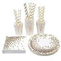 Aneco 146 Pieces Party Supplies Gold Foil Party Tableware Party Pack Paper Plates Napkins Cups Straws for Party,Birthday,Wedding for 24 Guests
