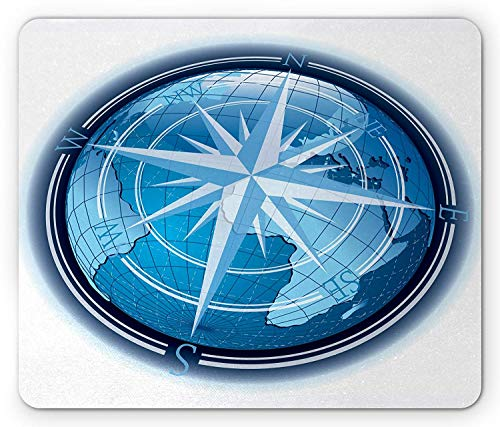 Compass Mouse Pad, Abstract Composition with Globe and Windrose Continents Ocean Modern Illustration, Standard Size Rectangle Non-Slip Rubber Mousepad, Navy Blue