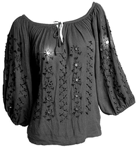 Dark Dreams Hippie Bluse Tunika Vintage Spiegelbluse, Farbe:schwarz, Größe:freesize -