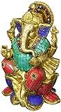 AapnoCraft Große Ganesha Statue Messing handgefertigt Lotus Ganesha Idols Hindu Glück Gott Skulptur mit Türkis Inlay Deko Figur