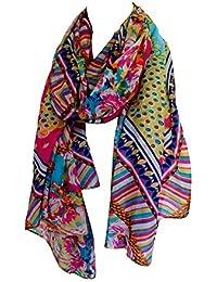 Grand foulard étole paréo 100% soie motifs multicolores 110 x 180 cm - silk scarf -