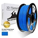 3D Filament, 3D Warhorse ABS 3D Printer Filament 1.75mm, 1KG Spool(2.2lbs),3D Printing Filament Dimensional Accuracy +/- 0.02mm-Bonus with 5M PCL Nozzle Cleaning Filament (Blue)