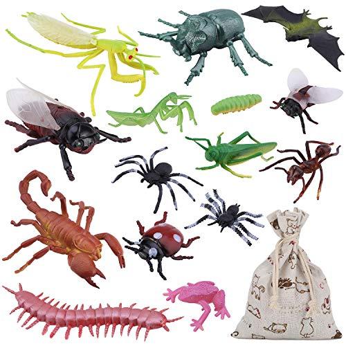 OOTSR 15 Stücke groß Plastik Realistische Wanzen, gefälschte Kakerlaken, Spinnen, Würmer und Fliegen für Halloween Party und Dekoration mit Baumwollgeschenkbeutel