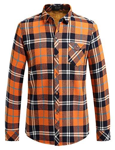 SSLR Herren Hemd Slim-Fit Flanellhemd Kariert Checked Langarm Gefüttert Baumwolle Holzfäller Hemden für Freizeit Business (Small, Orange)